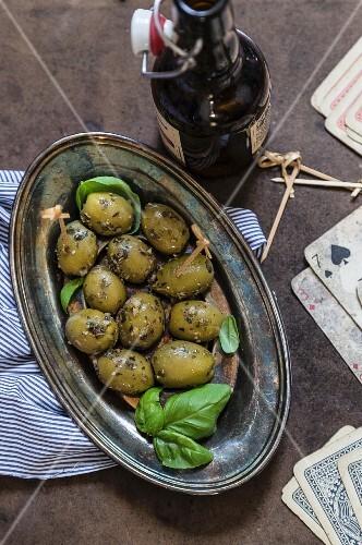 Green herb olives