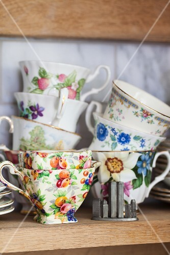 Teacups with various patterns