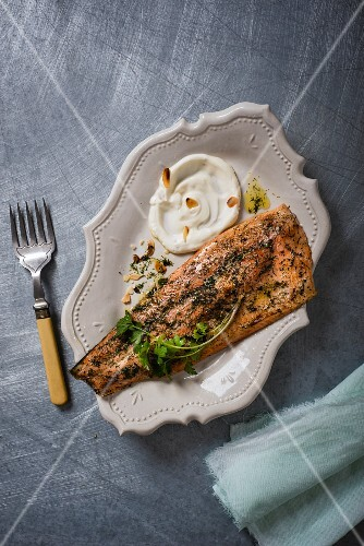 Herb trout with horseradish yoghurt