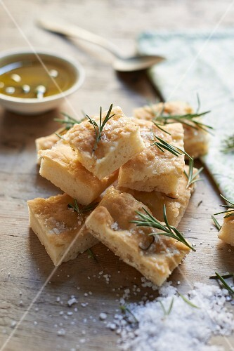 Gluten-free ciabatta squares with salt and rosemary