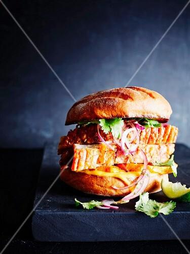 Peruvian burger, close-up