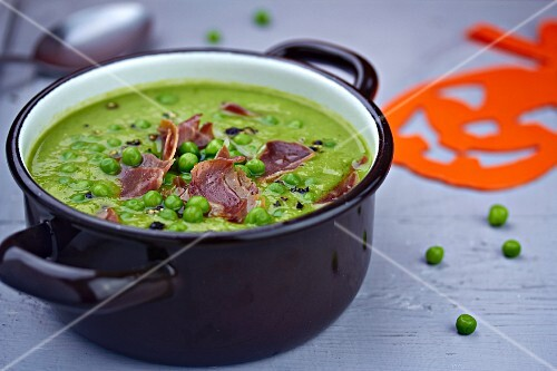 Pea soup with ham for Halloween