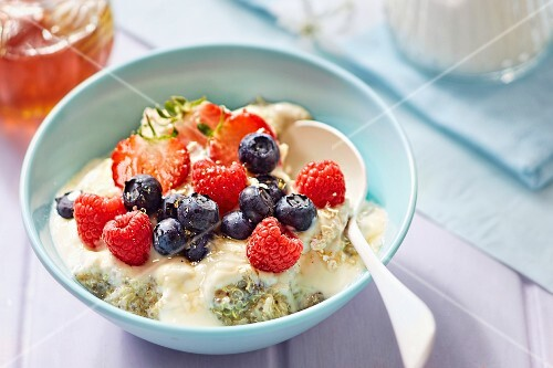 Quinoa with berries and chia seeds for breakfast