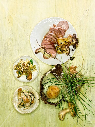 Veal fillet with three mushroom side dishes