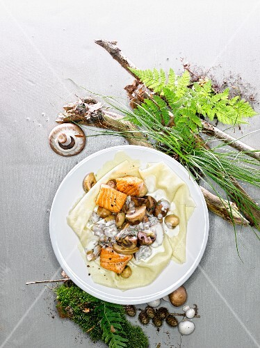Mushrooms in a creamy anchovy sauce with salmon on lasagne sheets