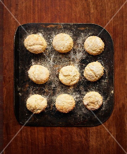 Freshly baked scones on a baking tray (seen from above)