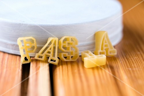 Pasta letters spelling the word 'pasta'
