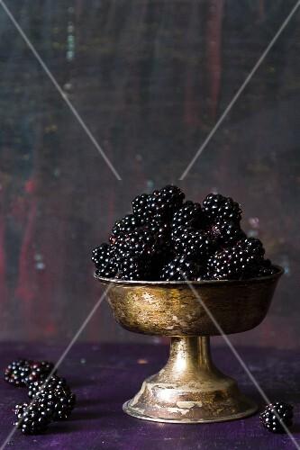 Blackberries in a silver goblet