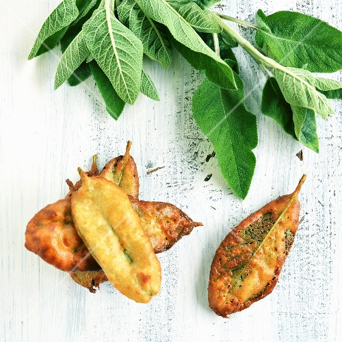Deep-fried sage leaves