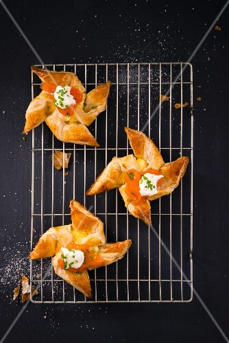 Windmill pastries with pineapple, smoked salmon and cream cheese