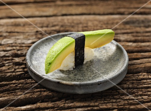 Nigiri sushi with avocado