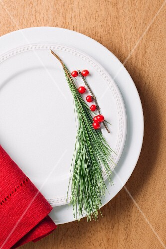 A pin sprig and a sprig of berries as plate decoration (seen from above)