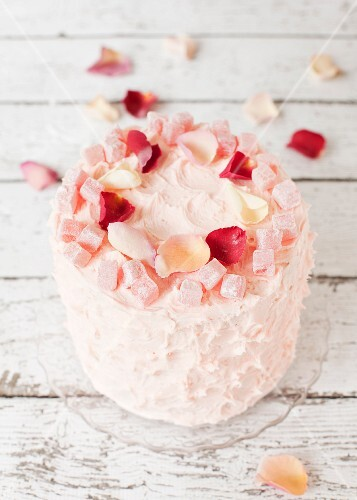 A Turkish Delight layer cake with rose petals