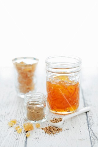 A jar of marmalade, ground ginger and candied ginger