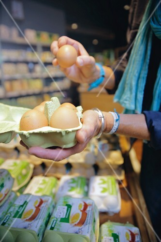 Organic eggs in a shop