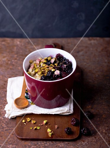 Millet with berries and pistachios