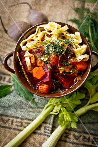 Beetroot soup with carrots and tagliatelle