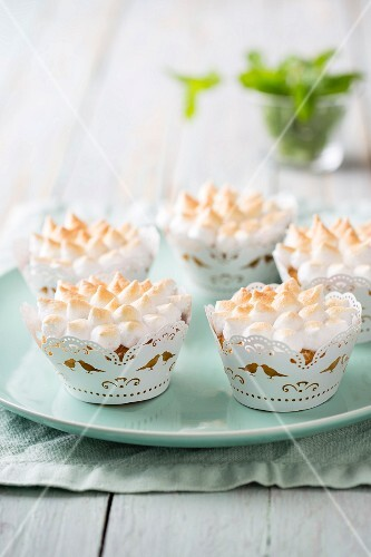 Lemon cupcakes topped with meringue