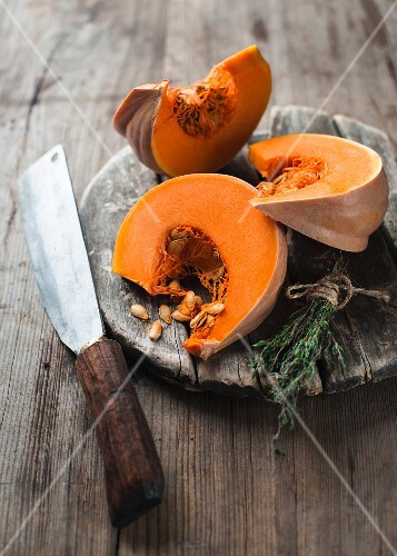 Three wedges of Muscade de Provence pumpkin