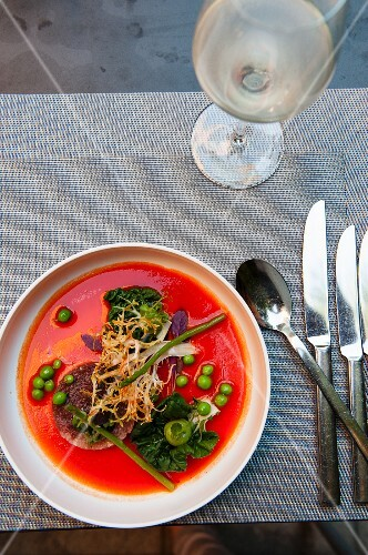 Tuna fish and hamachi tatar in gazpacho with bok choy, peas and frisee lettuce