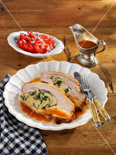 Stuffed veal breast with a tomato salad