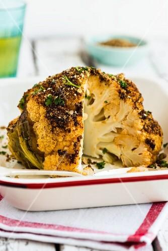 Spicy roasted cauliflower, sliced