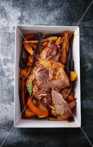 Roast lamb with heirloom vegetables