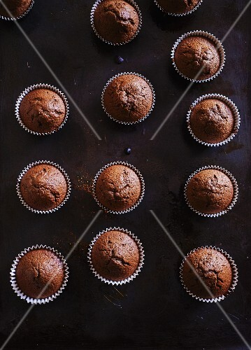 Chocolate muffins (seen from above)