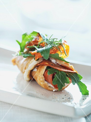 Omelette with chorizo and rocket