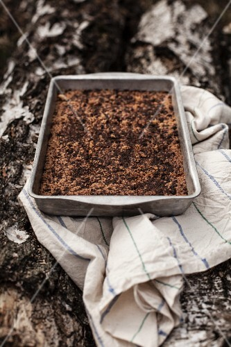 Brown sugar cake in a baking tin on a piece of birch wood