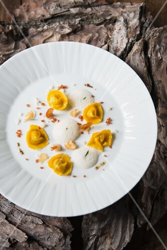 Tortelloni with a foam sauce