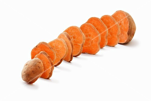 A sliced sweet potato