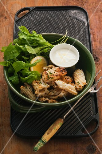 Grilled squid with a yoghurt dressing and a herb salad