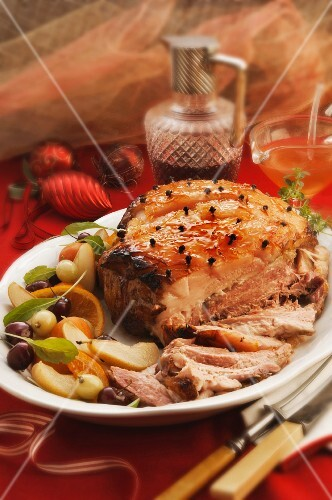 Roast pork with mustard fruits for Christmas