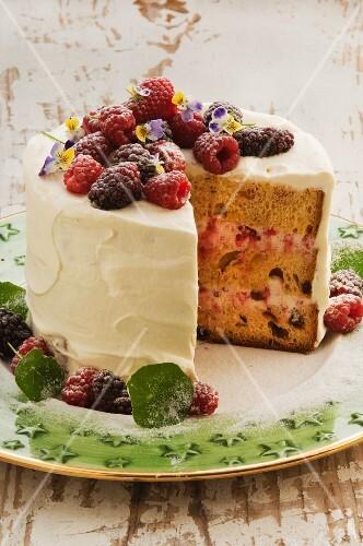Panetone trifle cake with raspberries, sliced