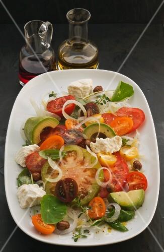 Colourful tomato salad with ricotta