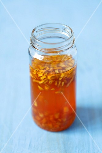 A jar of quince syrup