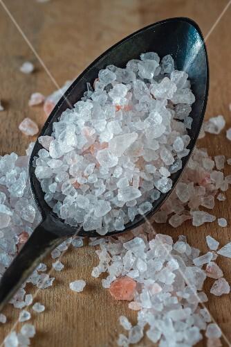 Salt crystals on spoon