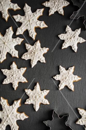 Schneeflocken-Lebkuchen (Draufsicht)