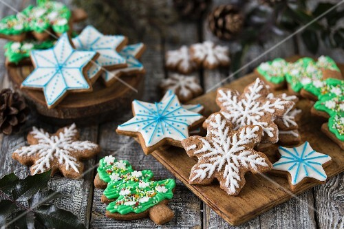 Various gingerbread biscuits decorated with colourful icing