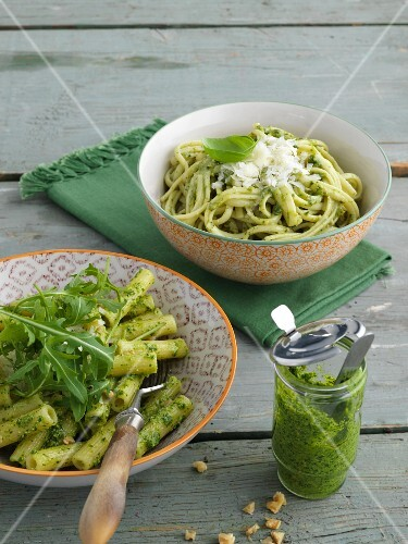 Trenette with pesto and penne pasta with rocket pesto
