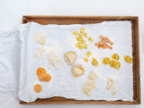 Fresh filled pasta on a cloth