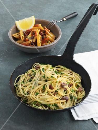 Spaghetti alla Sophia Loren with anchovy butter and penne alla puttanesca
