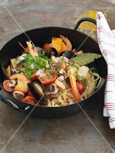 Spaghetti allo Scoglio with seafood