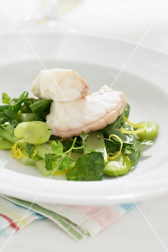Cod fillet on a green salad