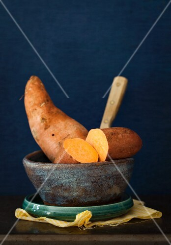 Sweet potatoes in a ceramic bowl