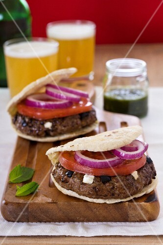 Greek-style lamb burger