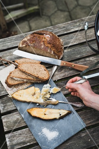 Sour dough bread with home-smoked halibut