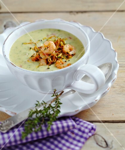 Potato soup with shrimps
