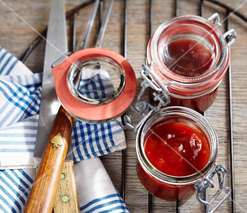 Homemade barbecue sauce in preserving jars